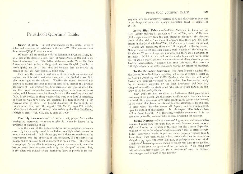 Origin of Man Priesthood Quorums' Table - 1910